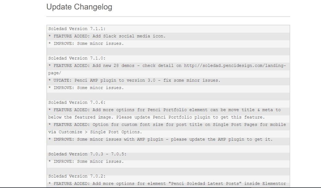 wordpress theme changelog