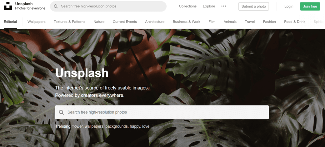 unsplash home
