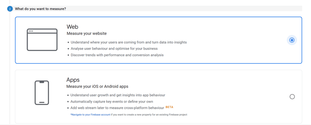 sign up google analytics screen