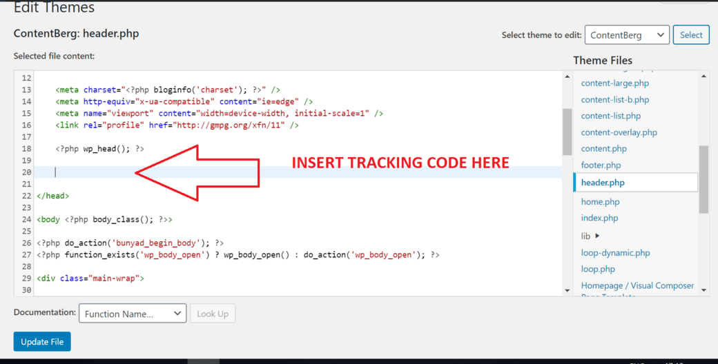 tracking code in header