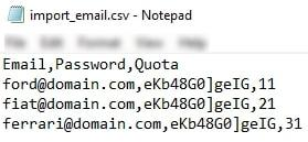 cpanel email address import