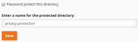 Enter a name for the protected directory