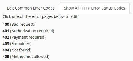 cpanel error pages