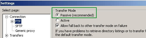 FileZilla passive mode