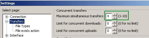 FileZilla simultaneous transfers