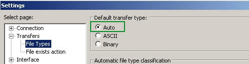 FileZilla transfer type