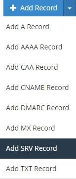 Select the type of DNS record
