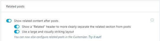 Managing options of Jetpack Related Posts