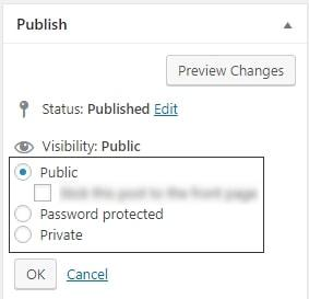 wordpress content visibility