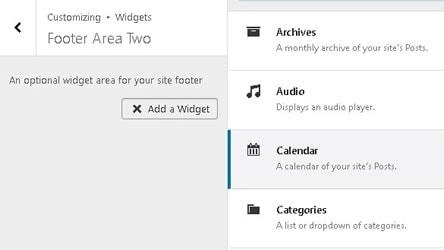 Selecting the calendar widget