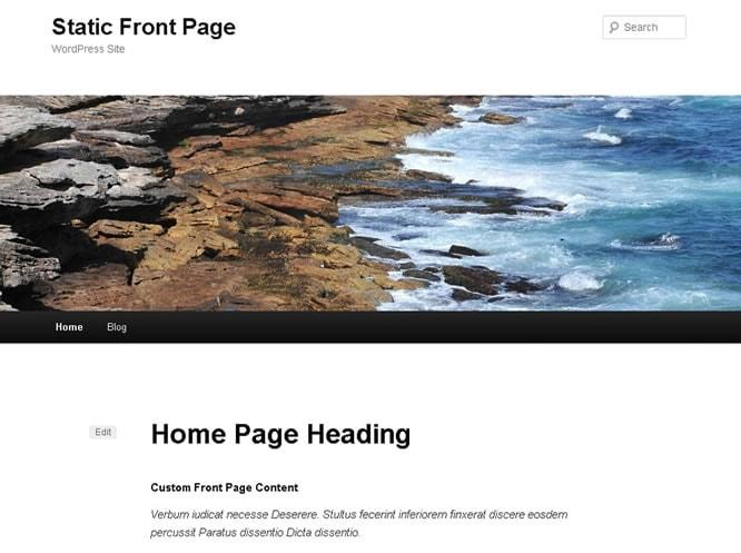wordpress static front page