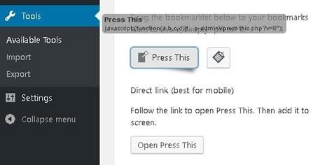 wordpress press this